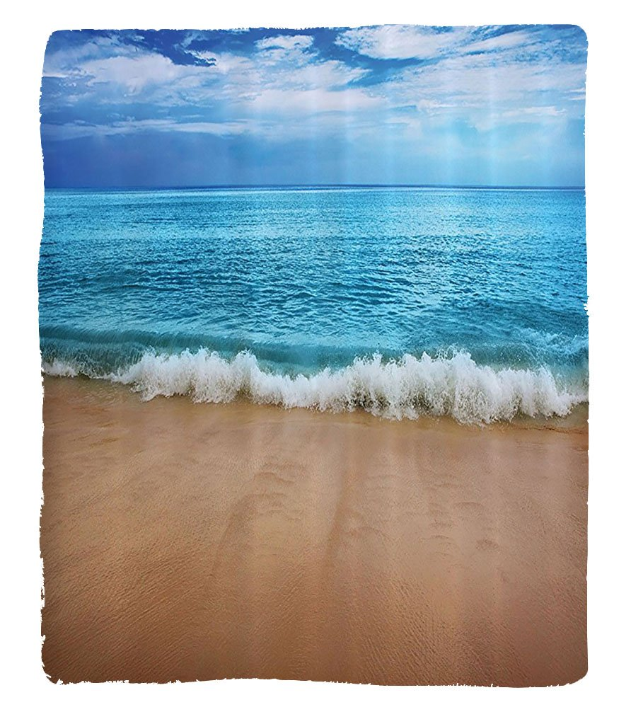 Chaoran 1 Fleece Blanket on Amazon Super Silky Soft All Season Super Plush Ocean Decor Collection India aman Isls Calmeaoft Beachummer Photography Fabric et Beige Aqua