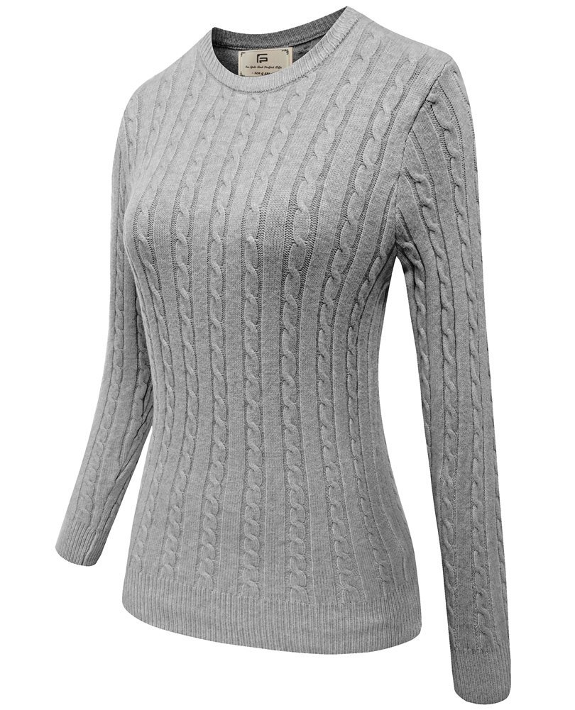 Women's Crew Neck Casual Long Sleeve Fashion Knit Sweater Pullover Top Grey L