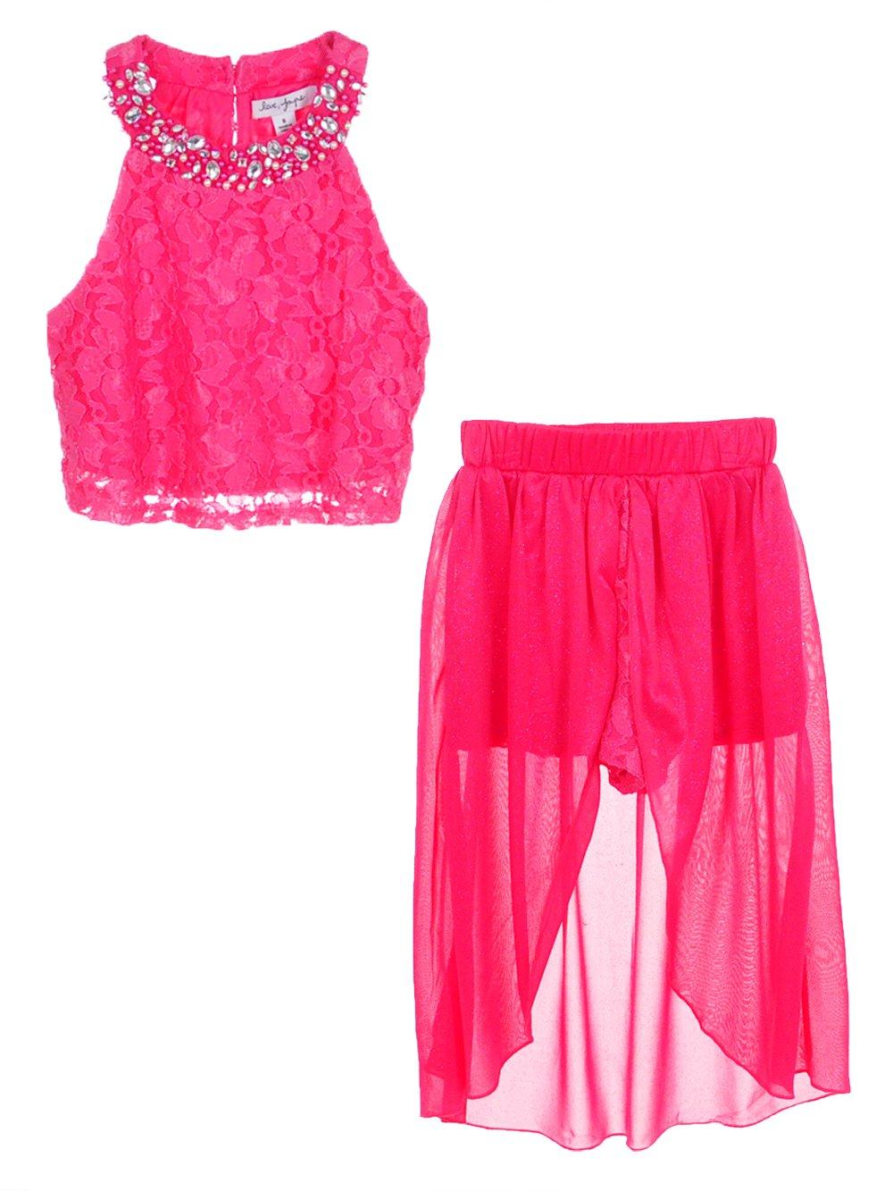 Love, Jayne Big Girls' 2-Piece Skirt Set Outfit - Fuchsia, 16