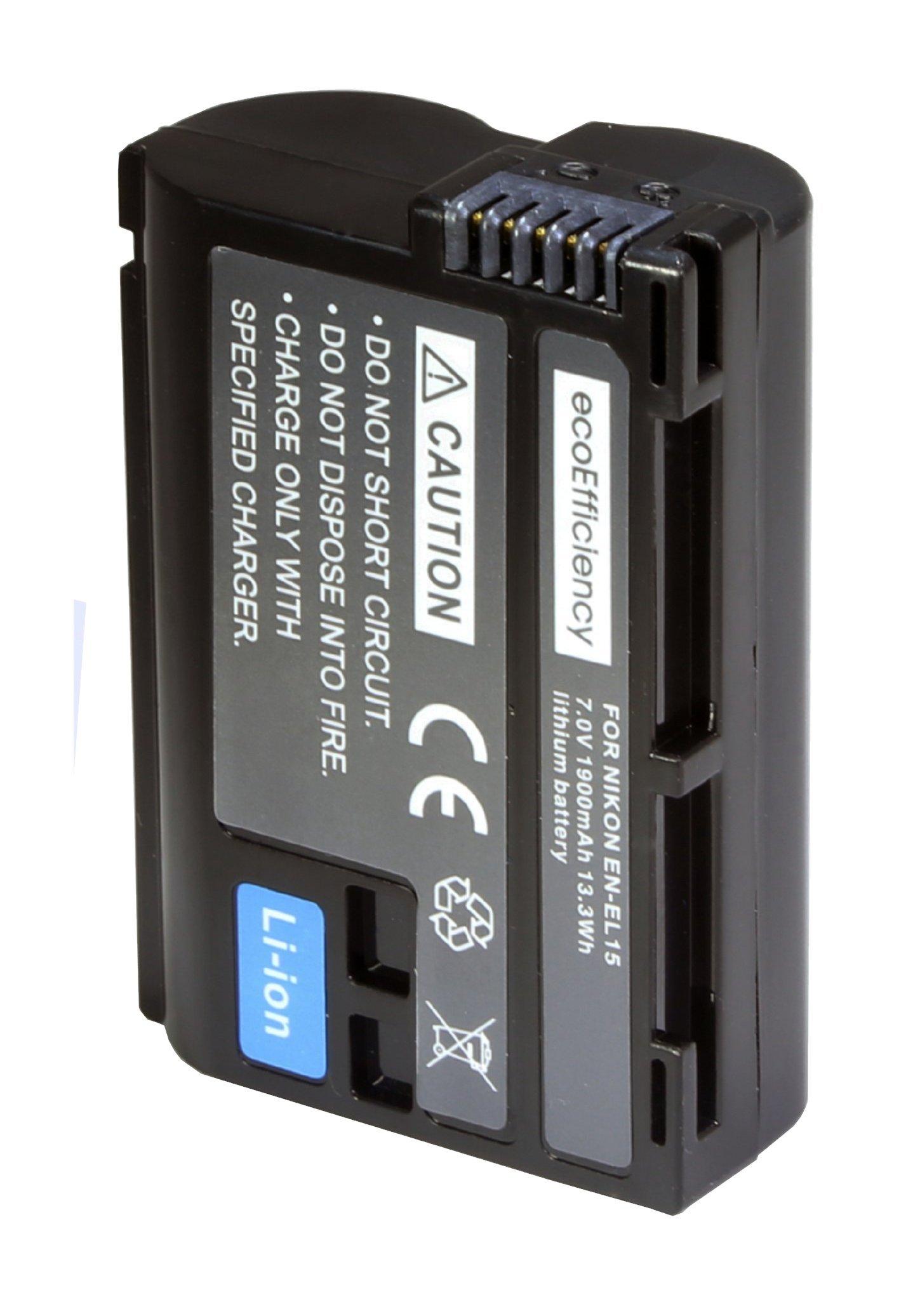 ecoEfficiency EN-EL15 Lithium Battery Pack for Nikon 1 V1, D500, D600, D610, D750, D800, D810, D810A, D850, D7000, D7100, D7200, D7500 Camera