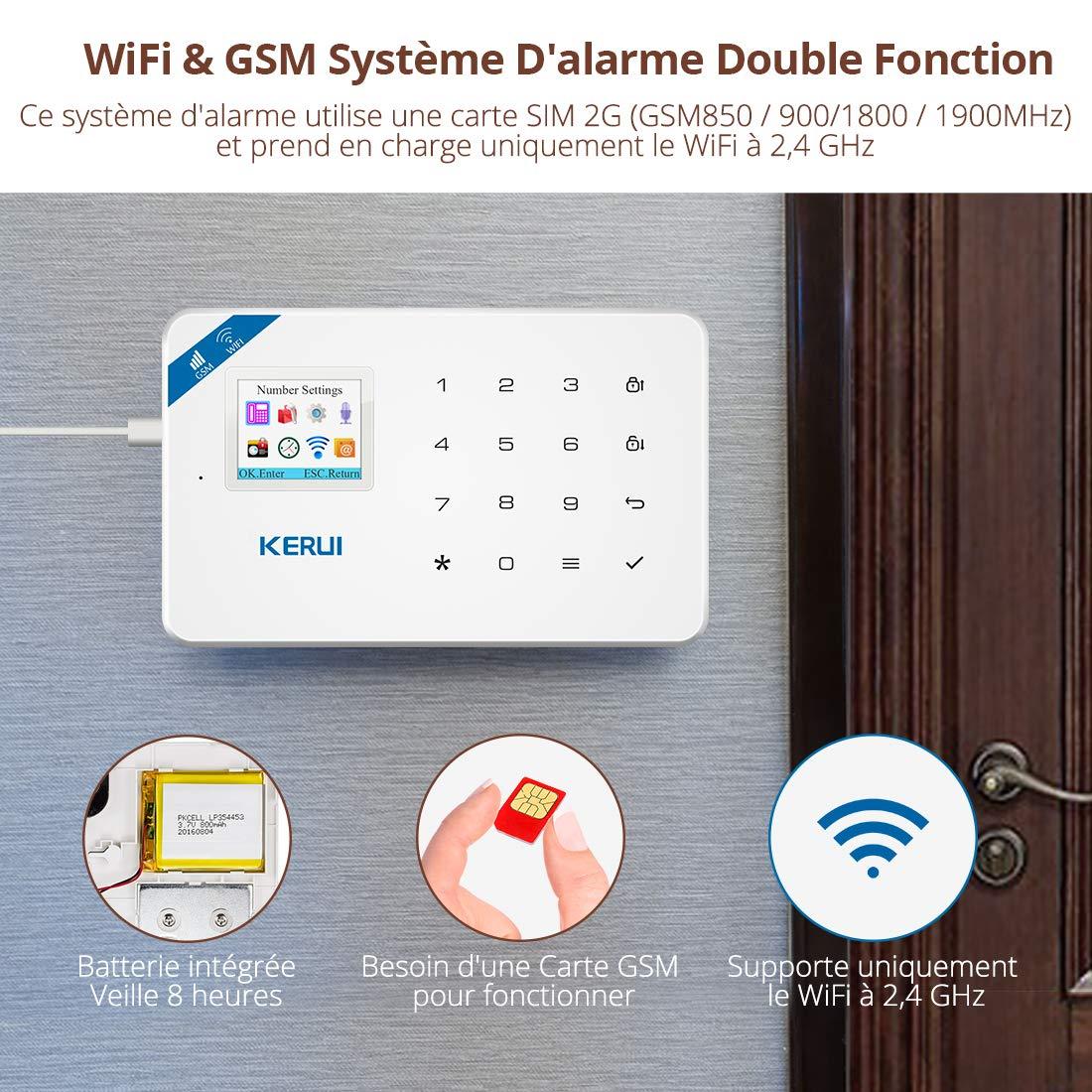 Kerui KR-W18 Sistema de alarma inalámbrica antirrobo para hogar (GSM, SMS, app, wifi): Amazon.es: Bricolaje y herramientas