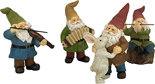 GlitZGlam Happy Gnomes Dancing Celebration – 4- Piece Musical Garden Gnome Set for The Miniature Fairy Garden