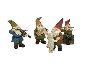 GlitZGlam Happy Gnomes Dancing Celebration! - 4- Piece Musical Garden Gnome Set for The Miniature Fairy Garden