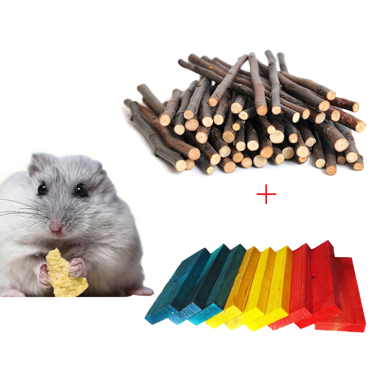Bwogue Hamster Chew Sticks,100G Natural Apple Branch & 9pcs Colored Wood Chews Sticks Molar Teeth Toy for Small Pets Chew Treat