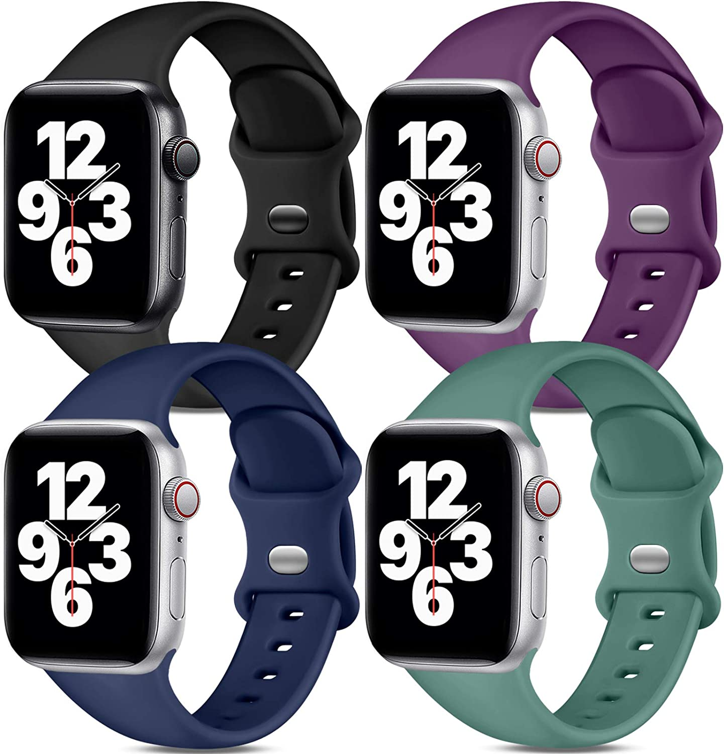 Dirrelo Band Compatible with Apple Watch Bands 38mm 40mm, [4-Pack] Soft Silicone Strap Wristbands for iWatch Series 3 5 6 4 2 1 SE Women Men, Small Black, Dark Purple, Dark Blue, Pine Green