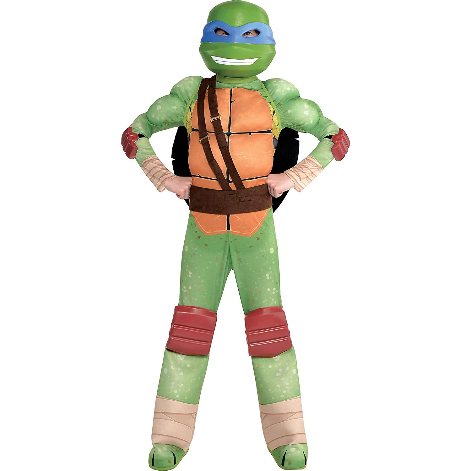 Amscan Teenage Mutant Ninja Turtles Leonardo Muscle Halloween Costume for Boys, Small, with Included Accessories