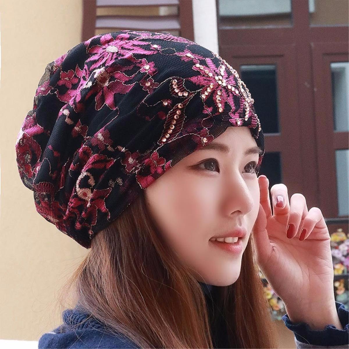 rose XINQING-MZ Chapeau The Girl /Écharpe Cap Bonnet de dentelle chauve Cap Storehouse capuchon femme enceinte Cap Baotou Chapeau Printemps et d/ét/é NEUF