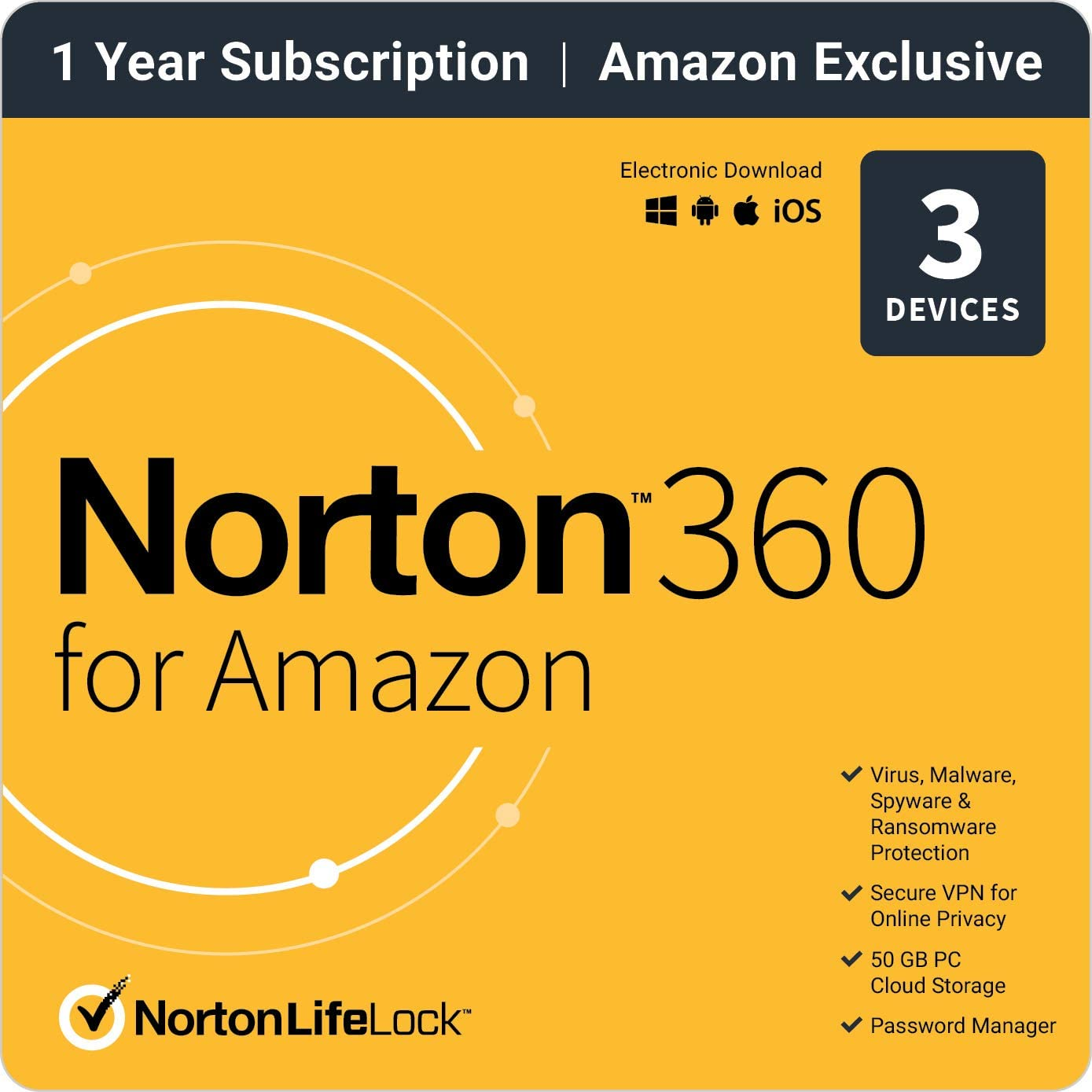 Norton 360 for Amazon – Antivirus software for up to 3 Devices with Auto Renewal
