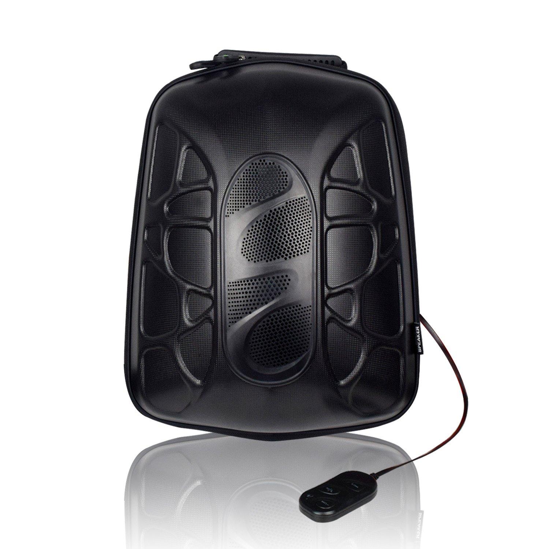 WILDMAN Multi-Functional Waterproof Lightweight Enabled Wireless Bluetooth Speaker LED Light Backpack (Black)