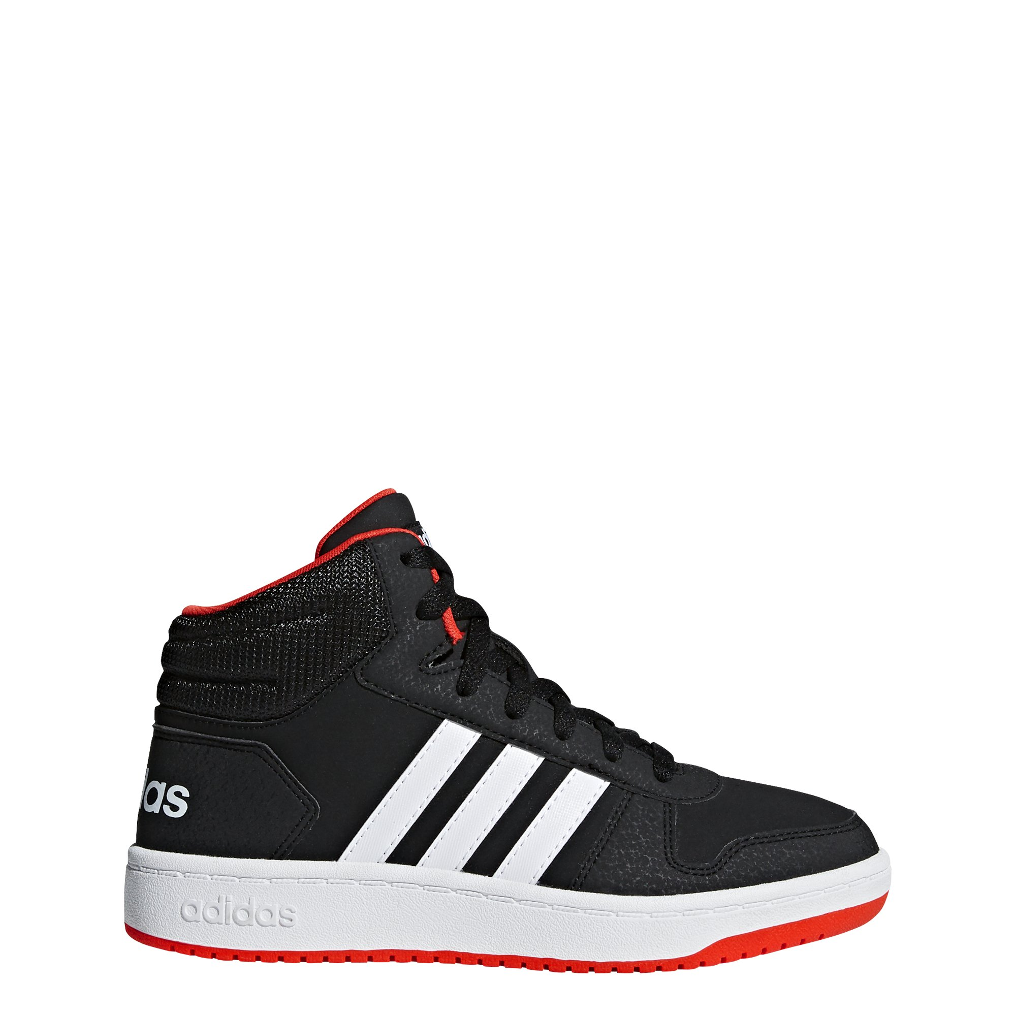 adidas Unisex Hoops 2.0 Basketball Shoe, Black/White/red, 5.5 M US Big Kid