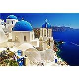 PROW® Rompecabezas de Madera de 1000 Piezas 30 x 20 Pulgadas Vista al mar Santorini Isla Griega Rompecabezas para el de decoración de la Pared de la Familia Regalo