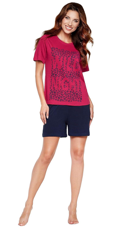 f07e799d1ef3f4 Moonline Moderner und Bequemer Damen Pyjama/Shorty / Capri Schlafanzug, mit Weicher  Baumwolle, ...