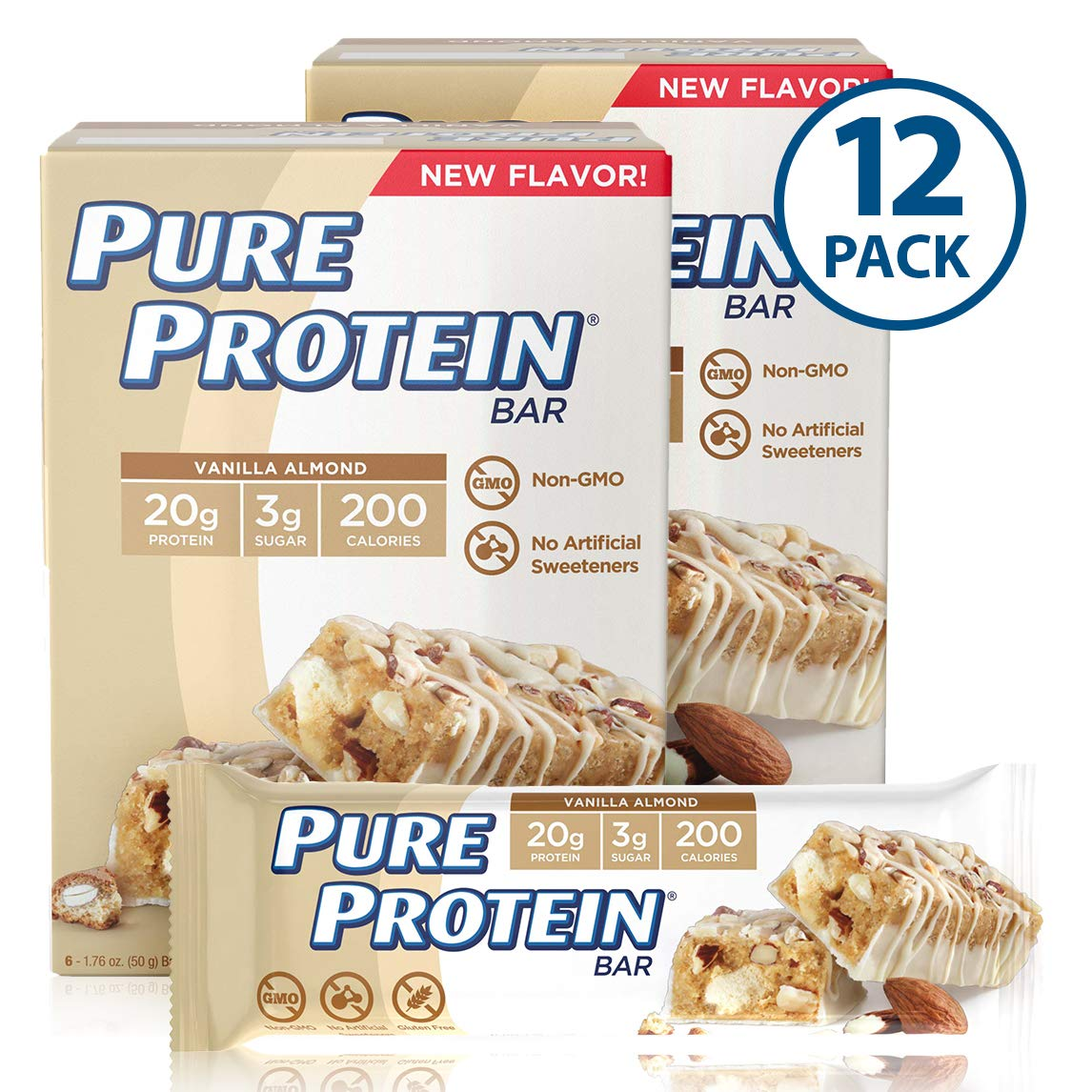 Pure Protein Bars, High Protein, Nutritious Snacks to Support Energy, Low Sugar, Gluten Free, Vanilla Almond, 1.76oz, 12 Pack