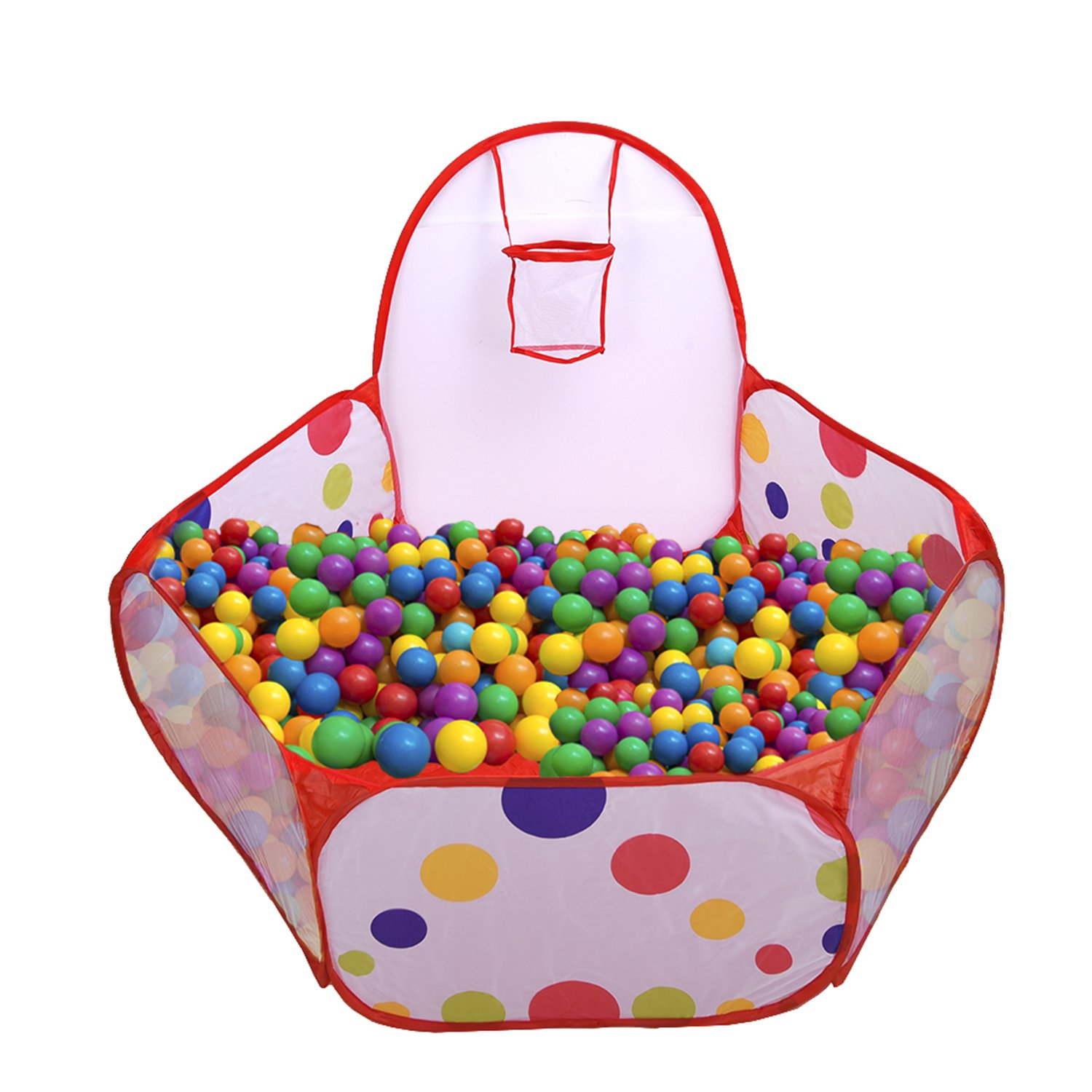 Mudder Kids Ball Pit Playpen Toddler Play Tent Sea Ball Pool with Mini Basketball Hoop and Zipper Storage Bag, 4 Feet/ 120 cm, Balls Not Included