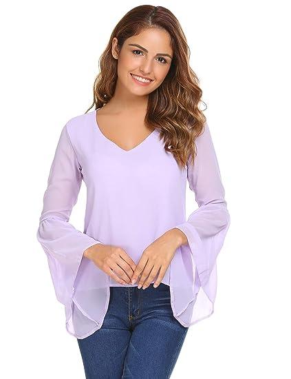 Unibelle Women Ruffle Bell Sleeve V Neck Chiffon Shirt Blouse Casual