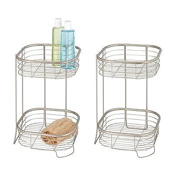 mDesign Juego de 2 organizadores de ducha – Repisa para ducha con 2 baldas  de metal 3067574ea8f4