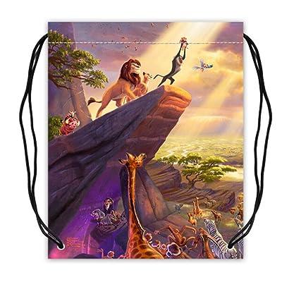 The Lion King Pattern Polyester Fabric Basketball Drawstring Bags Drawstring Tote