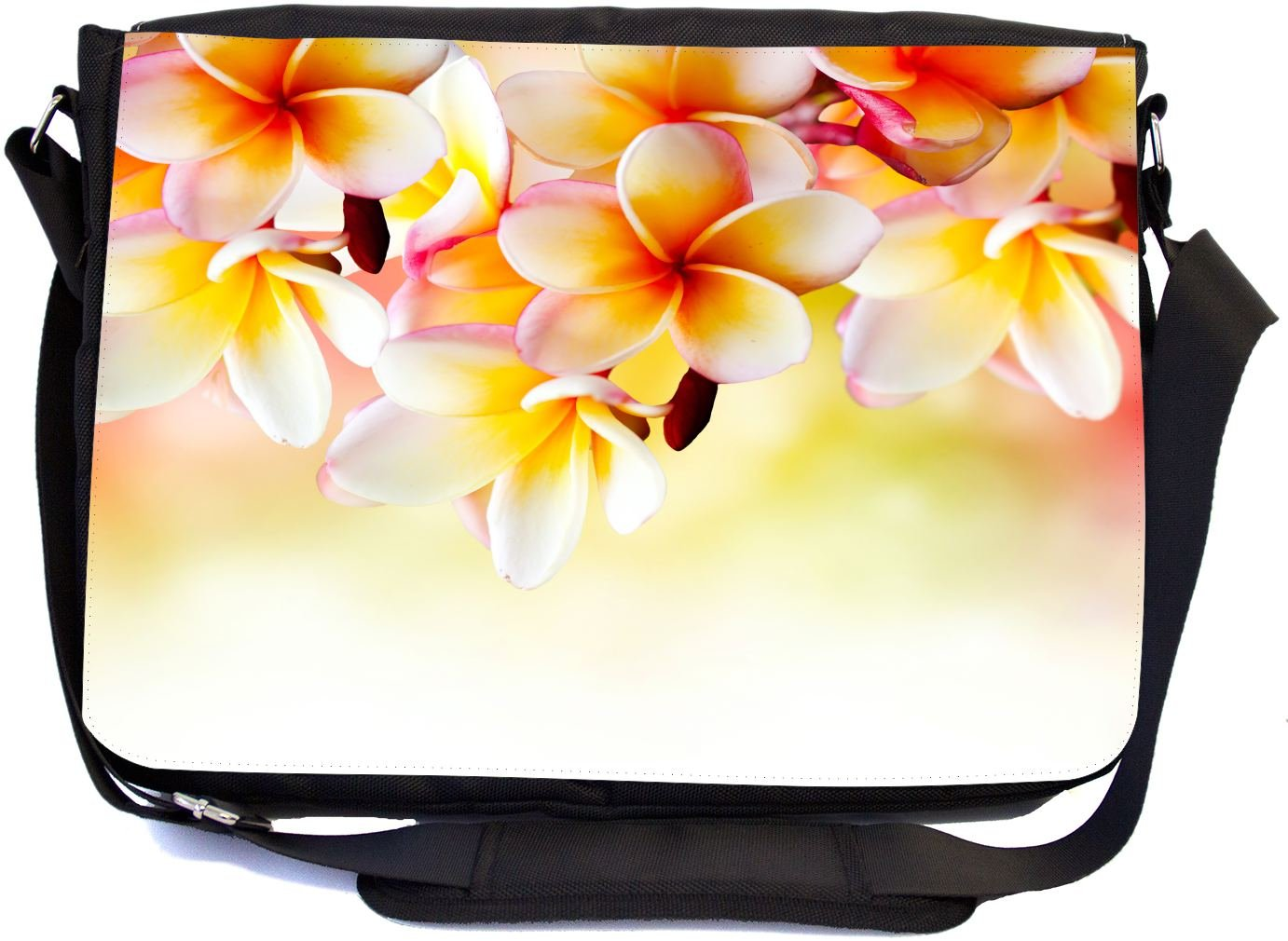 Rikki Knight Frangipani Tropical Spa Flower Design Multifunctional Messenger Bag - School Bag - Laptop Bag - with Padded Insert for School or Work - Includes Matching Compact Mirror
