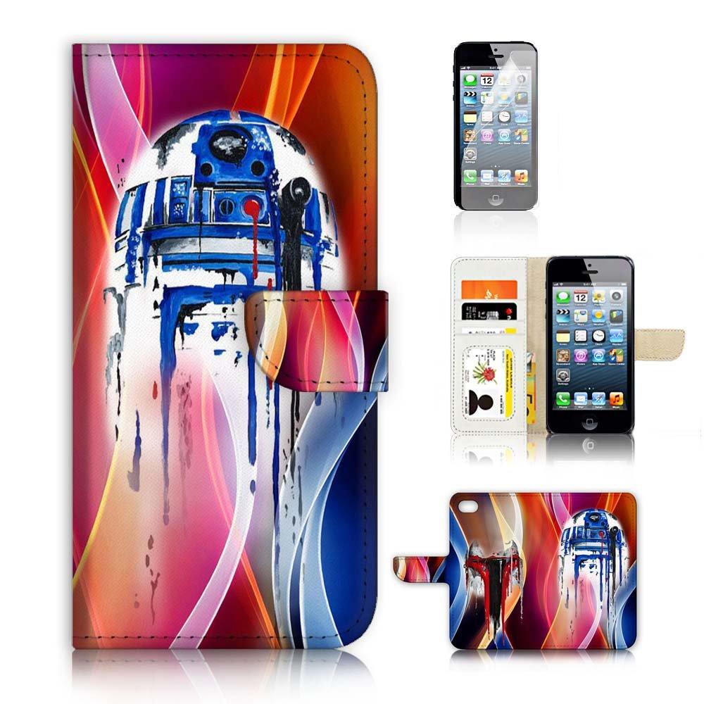 iPhone 5 5S / iPhone SEフリップウォレットケースカバー&スクリーンプロテクターバンドル! A3904スターウォーズR2D2   B0756P6W4J