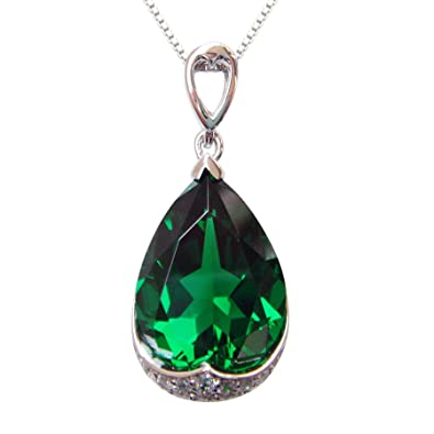 Navachi 925 Sterling Silver 18k White Gold Plated 10.5ct Pear Emerald Or Ruby Np9639p Necklace Pendant 16 jb5Kt2