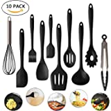 Cookey Kitchen Utensils 10 Sets, Silicone Heat Resistant Non Stick Easy To Clean Cooking Tools Baking Utensils Soup Spoon, Spatula, Tongs, Kitchen Gadgets Utensil Sets