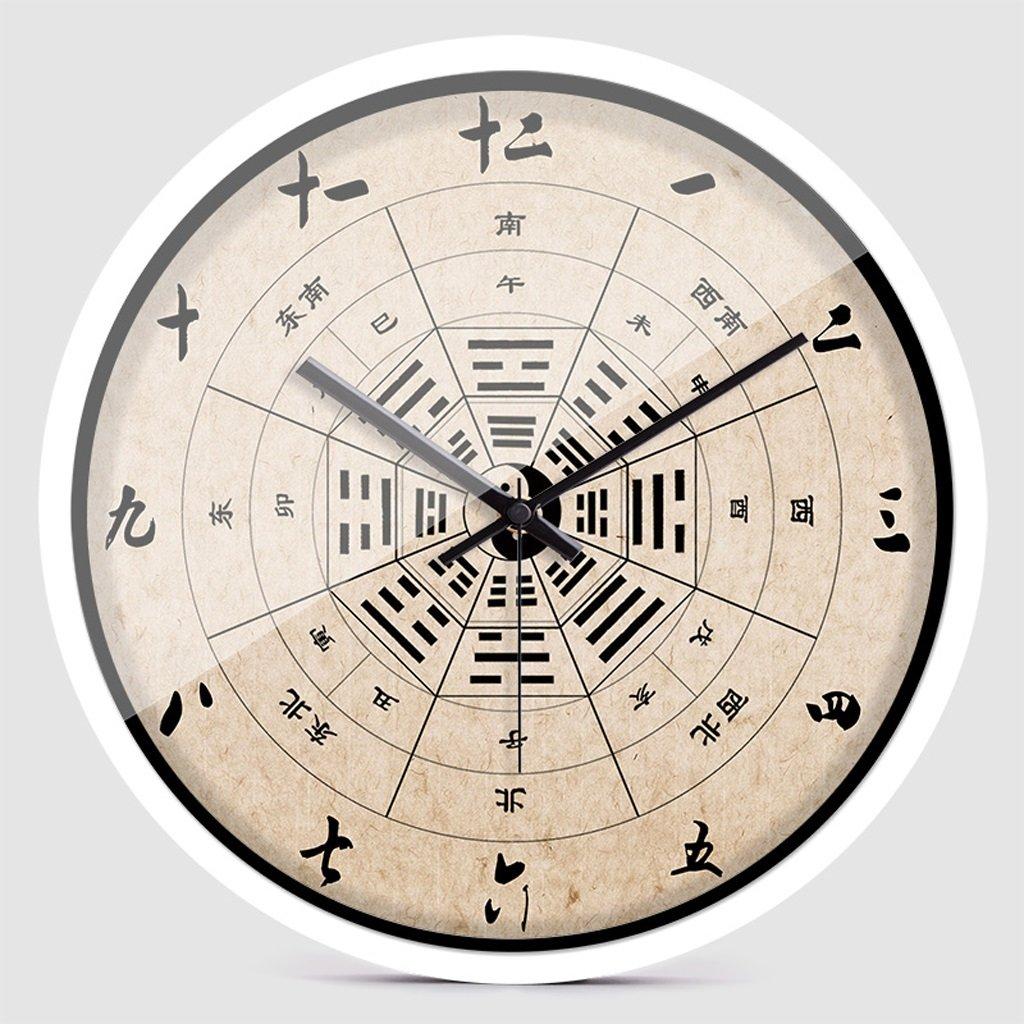 掛け時計 ウォールクロックファッション中国スタイルクリエイティブパーソナリティホーム寝室静かなクォーツ時計 Rollsnownow (色 : 白, サイズ さいず : 14 inches) B07C8HHFQ1白 14 inches