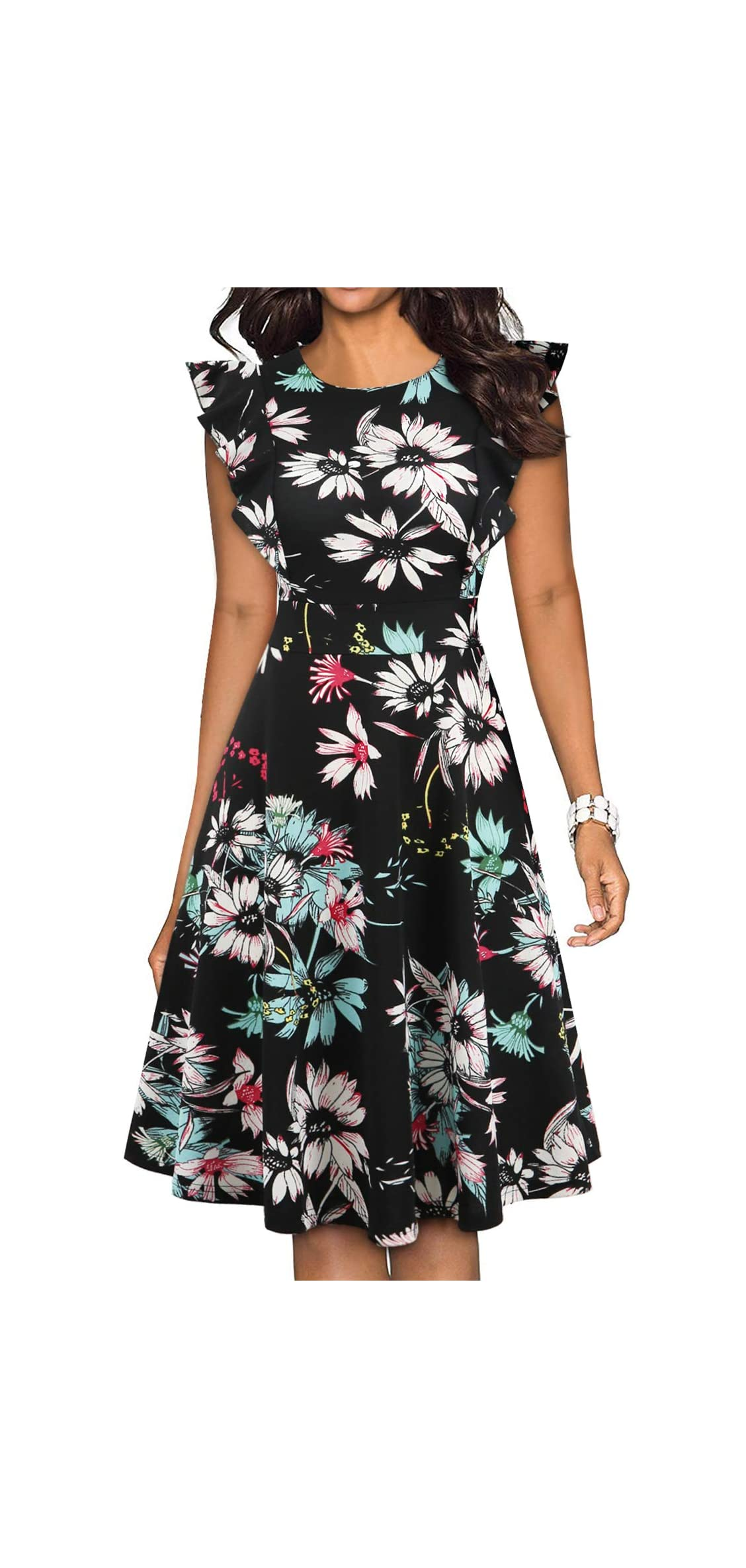 Women's Vintage Ruffle Floral Flared A Line Swing Casual