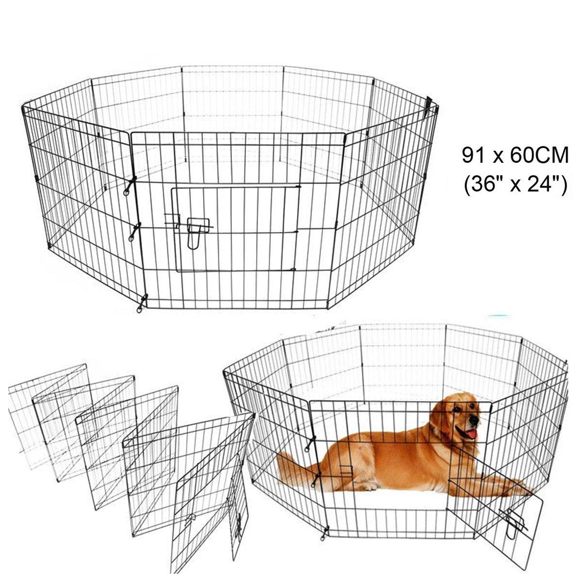 Paneltech Cage pour chien 24 / 30 / 36 42 inch Animal Cage de transport cage Cage à chiot Parc Enclos chiot Bec Parc Enclos Animaux Chien Chien Chien Cage Animal chiot Enclos Animaux Parc Enclos pour chiot chiens (Polygonal, 30) 30)