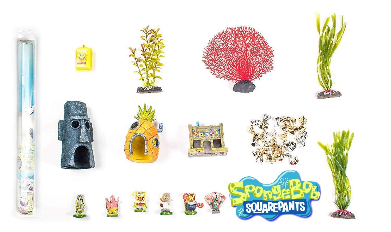 Penn Plax Spongebob Squarepants (Officially Licensed) 16 Piece Gift Set for 10 Gallon Aquariums by Penn Plax