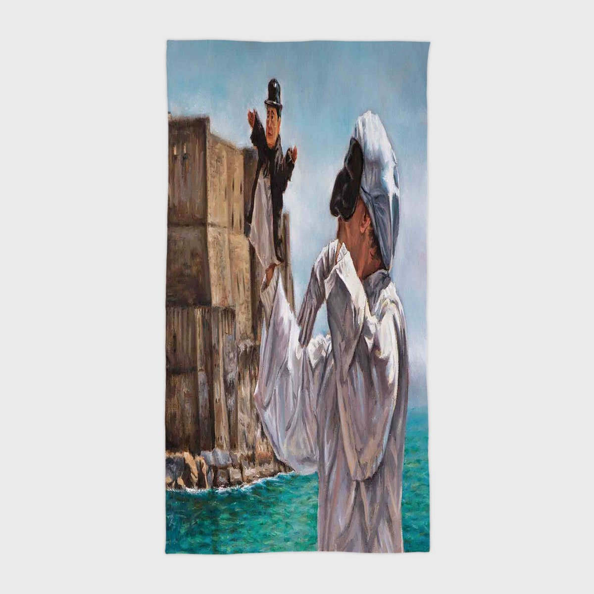 Cotton Microfiber Hotel SPA Beach Pool Bath Hand Towel,Country Decor,Painting of Pulcinella by the Old Castle Classical Traditional Comedy Character Art,Grey Blue Beige,for Kids, Teens, and Adults by iPrint (Image #1)