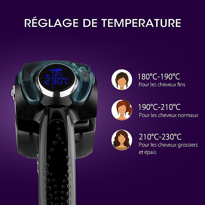 lismile Kit de hierro de rizador/Moldeador Moldeador de pelo de vapor profesional eléctrico Curl Moldeador Cabello el cuidado Cabello con LED pantalla ...