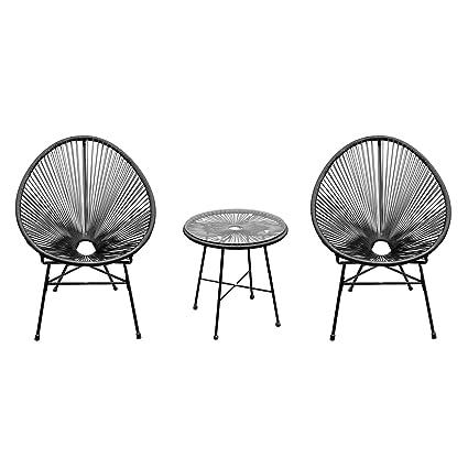 Outsunny Conjunto de Muebles para Terraza Jardín o Patio de Ratán Sintético 2 sillones y 1 Mesa para Exterior de Color Negro