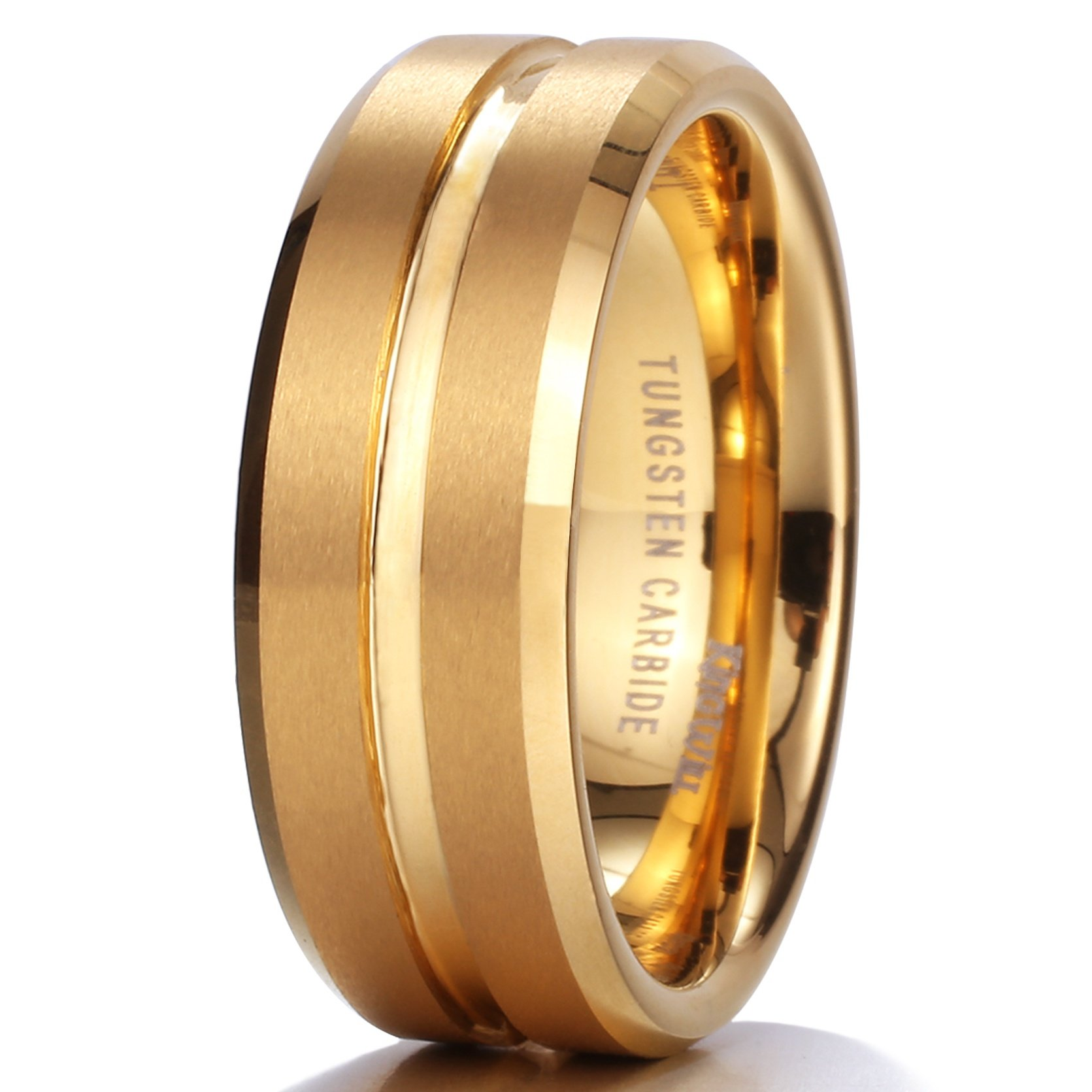 King Will Men 8Mm 18K Yellow Gold Plated Tungsten Matte Finish Wedding Band R.. 12