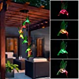 Color-Changing Solar LED Mobile Wind Chime, Pathonor LED Wind Chimes Waterproof 6 Hummingbird Solar Lights for Garden, Home, Party, Balcony, Porch, Patio, Festival Decor and Gift