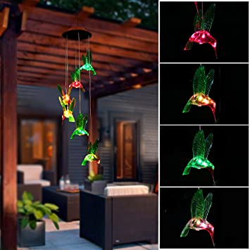 Color Changing Solar LED Mobile Wind Chime, Pathonor LED Wind Chimes  Waterproof 6 Hummingbird