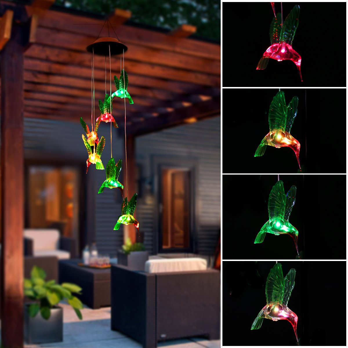 PATHONOR Upgraded Solar Wind Chime, Color-Changing Solar LED Mobile Wind Chime Waterproof Six Hummingbird Wind Chimes for Home/Party/ Night/Garden /Festival Decor/Valentines Gift