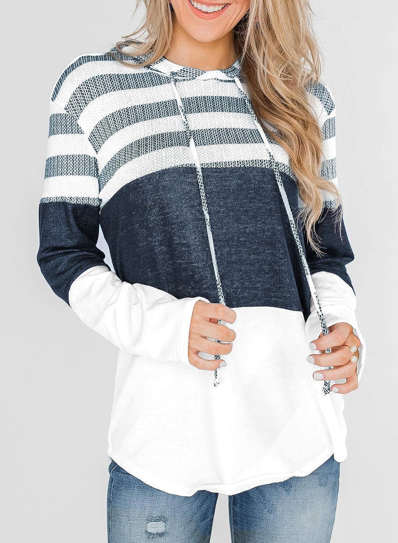 Women/'s Tunic Tops Color Block Striped Hooded Sweatshirt Drawtring Long Sleeve V Neck Tunic Tops Blouse