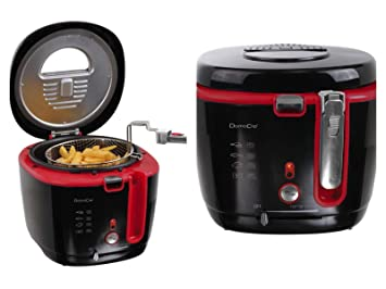 Freidora 2,5 litros filtro de olores fuerte 1800 W cesta de freír para 1 kg patatas (2 l, antiadherente, tapa con ventana, termostato regulable): Amazon.es: ...
