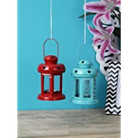 Sammsara Lantern Decoration with Tealight Candle (Blue,Red), Set of 2