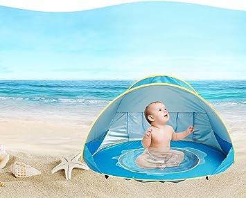 eighteen u Baby Strand Zelt, 90% UV Schutz Wasserdicht Tragbar Pop Up Zelt Mini Wasser Pool Sonnenschutz Zelt für 6–36 Monate Kinder