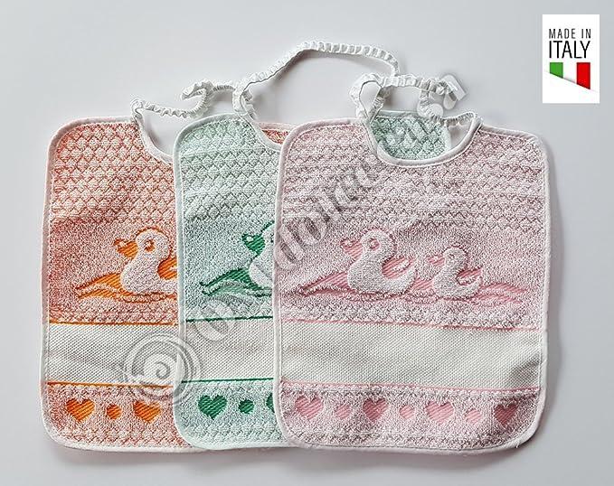 bavaglie 3 piezas con elástica Piu Toallitas 3 piezas dibujo patitos color de niña comprensivo de bordado con nombre de la niña producto italiano: ...