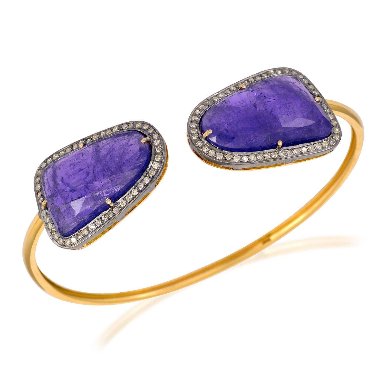 27.4ct Tanzanite Diamond 14kt Solid Gold 925 Sterling Silver Cuff Bangle Jewelry