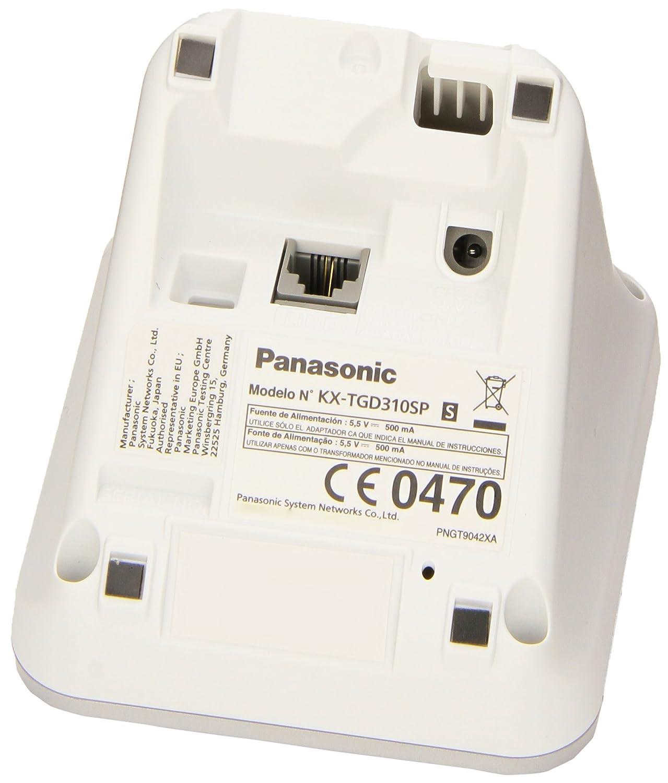 Panasonic KX-TGD310 - Teléfono fijo digital (bloqueo de llamadas, hasta 16 horas, modo no molestar), blanco: Amazon.es: Electrónica