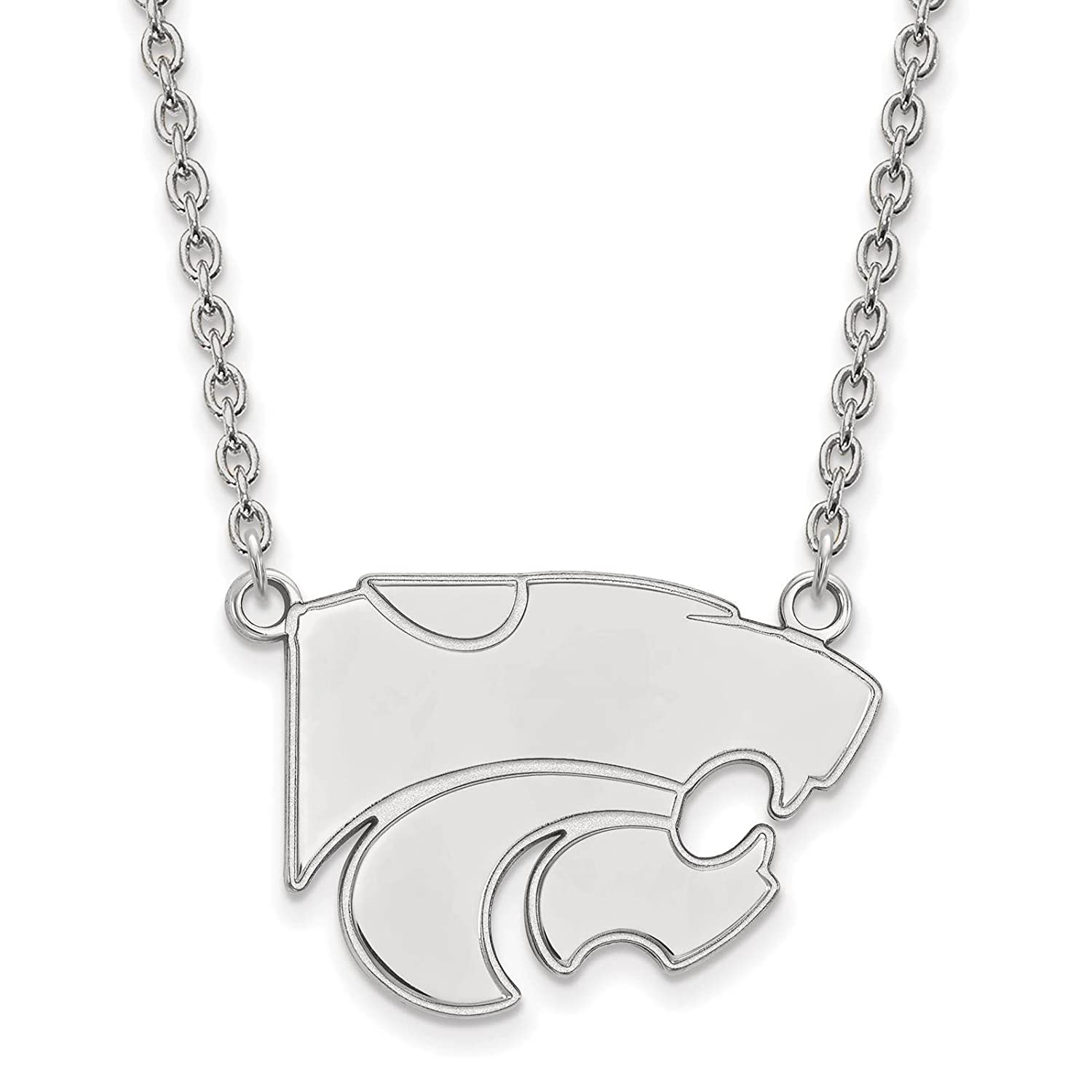 925 Sterling Silver Rhodium-plated Laser-cut Kansas State University Large Pendant w//Necklace 18