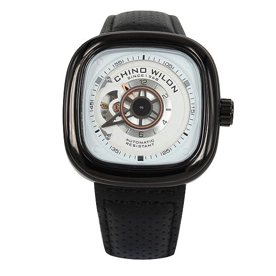 Reloj de pulsera de cuero para hombre, esfera negra cuadrada, reloj automático: Amazon.es: Relojes