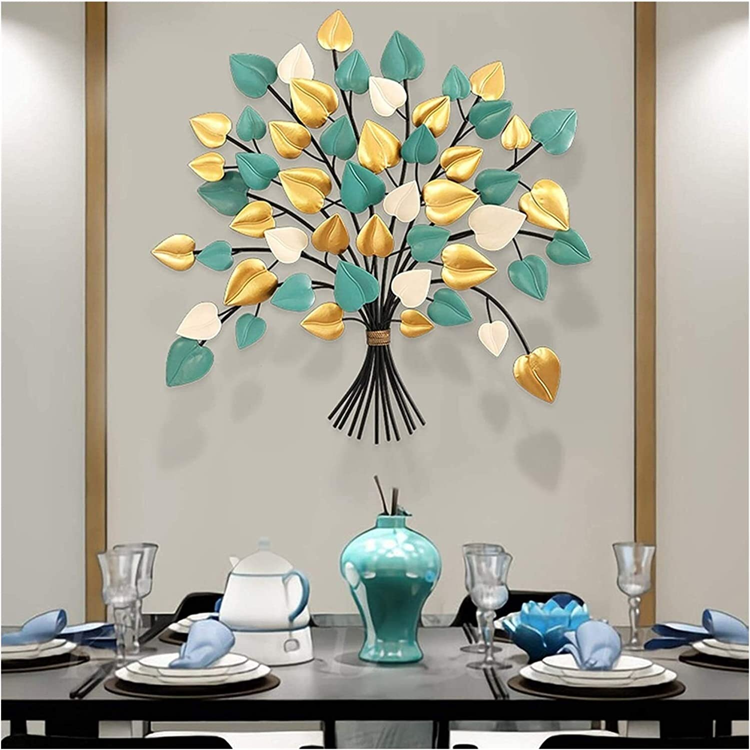 Metal Wall Art,Three Color Flower,3D Bouquet Wall Decor,Modern Wrought Iron Wall Decoration,Creative Heart Shaped Colorful Flowers,contemporary Creative Hanging Artwork Ornament Smooth Durable Ornamen