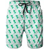 Shakumen Colorful Pineapples Mens Beach Shorts Lightweight Surfing Trunks with 3 Pockets