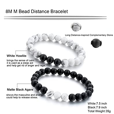 photograph about Lokai Bracelet Meaning Printable known as Prolonged Route Length Bracelets for Admirers-2personal computers Black Matte Agate White Howlite 8mm Beads