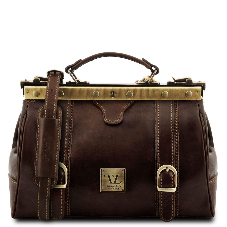 TL10034//1 Mallette infirmi/ère r/étro en cuir avec boucles Marron Monalisa Tuscany Leather