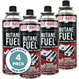 Chef Master 90340 | Pack of 4 Butane Fuel Cylinders| 8oz Butane Canisters for Portable Stove | Butane Torch Replacement Canis